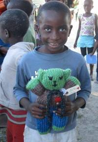 Recipient of Mother Bear teddy bear in Namibia